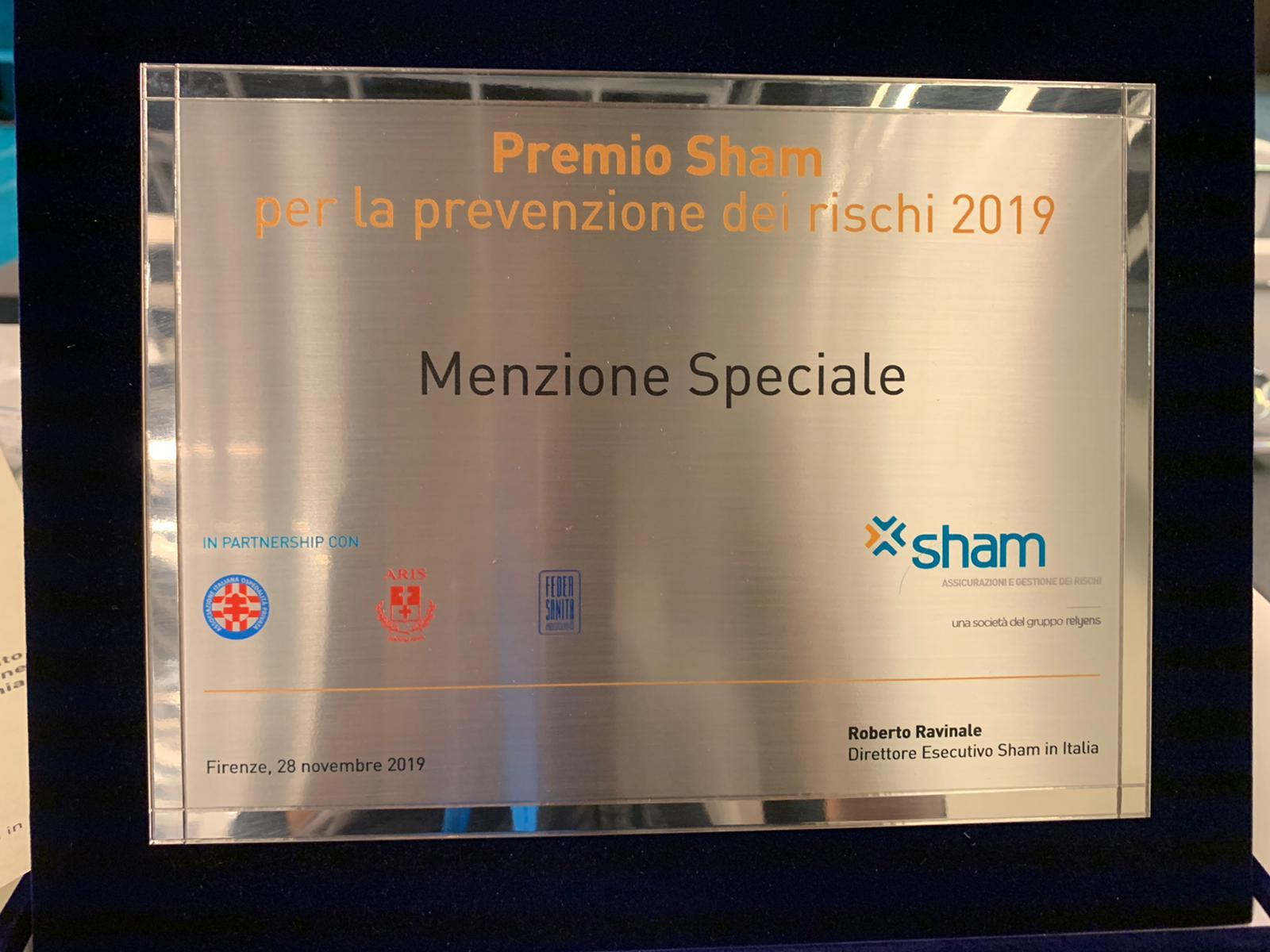 PREMIO SHAM, MENZIONE SPECIALE ALL'OSPEDALE BETANIA PER LA PREVENZIONE DEI RISCHI